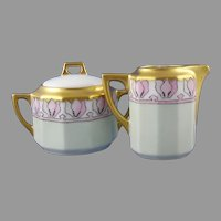 C. Tielsch Altwasser Floral Design Creamer & Sugar Set (Signed/c.1902-1934) - Keramic Studio Design