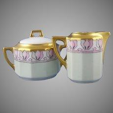 C. Tielsch Altwasser Floral Design Creamer & Sugar Set (Signed/c.1902-1934) - Keramic Studio Design