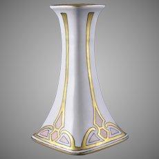 "PL Limoges Art Deco Design Candlestick (Signed ""Shere Irwin""/c.1905-1938)"