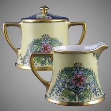 """WG&Co. Limoges Floral Design Creamer & Sugar (Signed """"Mayme Gatema""""/c.1900-1932)"""