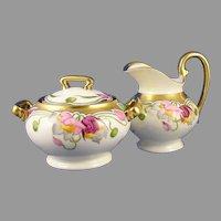 Stouffer Studios Floral Design Creamer & Sugar Set (Signed/c.1905-1906)