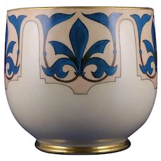 "WG&Co. Limoges Fleur de Lis Design Vase/Jardinière (Signed ""Nazareth, KY""/c.1900-1932)"