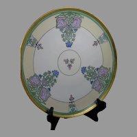 """T&V Limoges Floral Design Plate/Charger (Signed """"KM""""/Dated 1921)"""