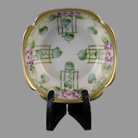 "Pickard Studios ""Violets in Panel"" Design Bowl (Signed ""A.W."" /c.1905-1910)"