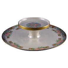 """RS Prussia Tillowitz Silesia Floral Design Tiered Caviar Serving Plate/Dish (Signed """"A.B. Elliff""""/Dated 1926) - Keramic Studio Design"""