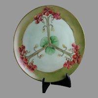 "Thomas Bavaria Nasturtium Design Plate/Charger (Signed ""A. Runzler""/c.1908-1930)"