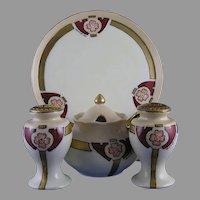"T&V Limoges 5-Piece Floral Design Condiment Set (Signed ""Woodrow""/c.1892-1920)"