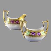 """Favorite Bavaria Stouffer Studios Violet Design Creamer & Sugar Set (Signed """"WS""""/c.1906-1914)"""