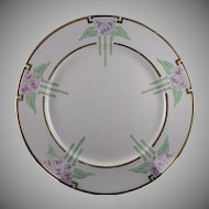 "Lenox Belleek (American) Enameled Floral Motif Plate (Signed ""N.L.H.""/Dated 1917) - Keramic Studio Design"