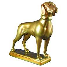"Zsolnay Hungary Eosin Green Vizsla/Dog Figurine (Signed ""ORYF""/c.1920-1940)"