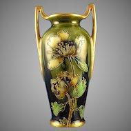 Ernst Wahliss Amphora Austria Enameled Floral Motif Vase (c.1899-1918)