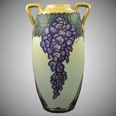 Large Epiag Czechoslovakia Wisteria Motif Vase (Signed/c.1918-1936)