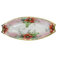 "Hutschenreuther Selb Bavaria Poppy Motif Serving Dish (Signed ""Freiberg""/c.1930-1940)"
