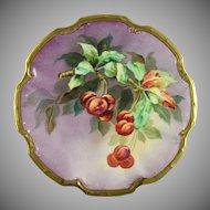 Coiffe Limoges Blakeman & Henderson (B&H) Cherries Motif Plate (c.1891-1914)