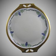 Hutschenreuther Bavaria Grape Motif Handled Plate (Signed/c.1920-1940)