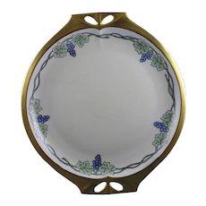 Hutschenreuther Bavaria Grape Motif Handled Plate (Signed/c.1920-1940)