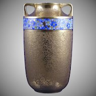 "Pickard Studios ""Rose & Daisy AOG"" Pattern Gold with Blue Floral Band Vase (c.1919-1922)"
