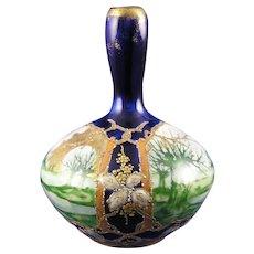 RStK Amphora Austria Landscape & Enameled Floral Motif Vase (c.1890-1918)
