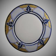 Limoges 'Mark 6' Geometric Leaf Design Plate (Signed/c.1891-1930)