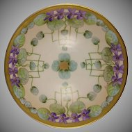 "Favorite Bavaria Pickard Studios ""Violets In Panels"" Design Bowl (Signed ""Wight""/c.1910-1912)"