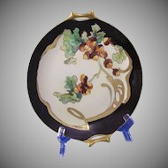 Hutschenreuther Selb Bavaria Acorn Motif Handled Plate (c.1910-1920) - Keramic Studio Design