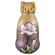 RStK Amphora Austria Arts & Crafts Enameled Poppy Motif Vase (c.1890-1910)