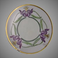 "Thomas Bavaria ""Japanese Lily"" Design Plate (Signed/Dated 1914) - Keramic Studio Design"