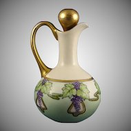 France Porcelain Blank Grape Motif Cruet (Signed/c.1910-1930)