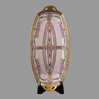"Pickard Studios Enameled Floral Design Handled Serving Dish/Tray (Signed ""Tolpin""/c.1912-1918)"