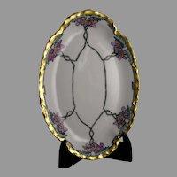 """Haviland Limoges Violet Design Tray (Signed """"J.E.H.""""/c.1903-1930) - Keramic Studio Design"""