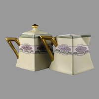 "D&Co. Limoges Petunia Design Creamer & Sugar Set (Signed ""June Saxmann""/c.1910-1930) - Keramic Studio Design"