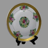 "Porcelain Blank Art Deco Floral Design Charger/Plate (Signed ""Helen O'Brien""/Dated 1925)"