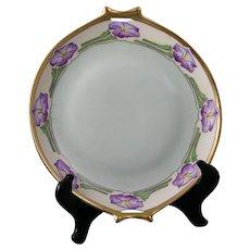 "Hutschenreuther Selb Bavaria Petunia Design Handled Plate (Signed ""M.S.T.""/c.1910-1930) - Keramic Studio Design"