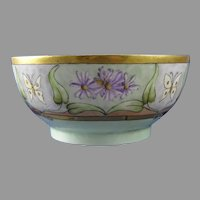 """AKD Limoges Floral & Butterfly Bowl (Signed """"E.D.W.""""/Dated 1904) - Keramic Studio Design"""