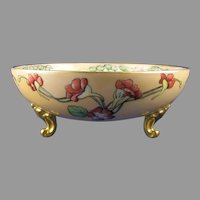 T&V Limoges Nasturtium Design Footed Bowl (c.1902-1930) - Keramic Studio Design
