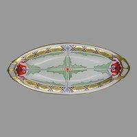 "Julius Brauer Studios Poppy Design Serving Dish/Tray (Signed ""J.B.""/c.1911-1926)"
