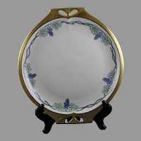 "Hutschenreuther Bavaria Grape Motif Handled Plate (Signed ""A.C.S.""/c.1920-1940)"