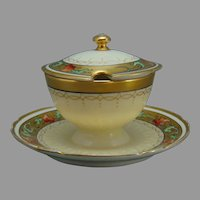 "Pickard Studios ""Tomascheko Poppy Border"" Design Covered Condiment Dish (c.1905-1910)"