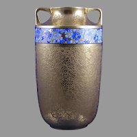 """Pickard Studios """"Rose & Daisy AOG"""" Pattern Gold with Blue Floral Band Vase (c.1919-1922)"""