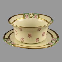 PH Leonard Art Deco Ramekin/Dish & Plate Set (c.1910-1930)