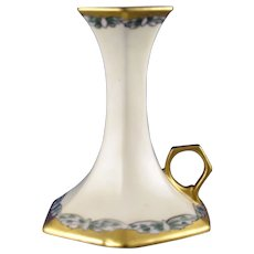 T&V Limoges Butterfly/Dragonfly Design Candlestick (c.1908-1930) - Keramic Studio Design