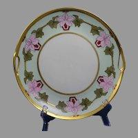 "Schumann Arzberg Bavaria Floral Design Handled Plate (Signed ""Anna""/c.1920-1940)"