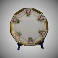 Blakeman & Henderson Limoges Pink Floral Design Plate (c.1912-1920) - Keramic Studio Design