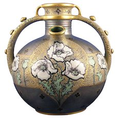 Amphora Austria Paul Dachsel Design Enameled Poppy Vase (c.1906-1910)