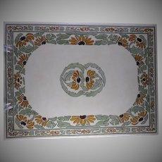 RARE & LARGE Tressemann & Vogt (T&V) Limoges Black-Eyed Susan Design Tile/Plaque (c.1913-1930) - Keramic Studio Design