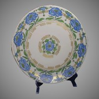 Krister Porcelain Manufactory (KPM) Germany Blue Floral Handled Plate (Signed/c.1912-1927) - Keramic Studio Design