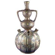 Amphora Austria Arts & Crafts Jeweled/Cabochon Woodland Motif Vase (c.1900-1905)