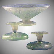 """Consolidated Glass Green Wash """"Orchid"""" Design Centerpiece Bowl & Candlesticks Set (c.1920's)"""