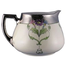 """Zeh, Scherzer & Co. (ZS&Co.) Bavaria Arts & Crafts Floral Motif Pitcher (Signed """"Viola Mae Goebel""""/Dated 1919)"""