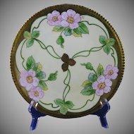 "E. W. Donath Studios Pink Wild Rose Design Plate (Signed ""Kitt""/c.1906-1928)"